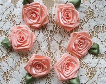 Victorian Ribbon Roses 6 LG PEACH 2in. Handmade