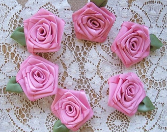 2in. Appliques Victorian Ribbon Roses 6 LG Lt.Rose Pink Handmade
