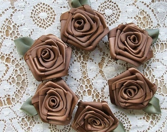 6- 2 inch Handmade Victorian  Ribbon Roses Appliques, Chocolate