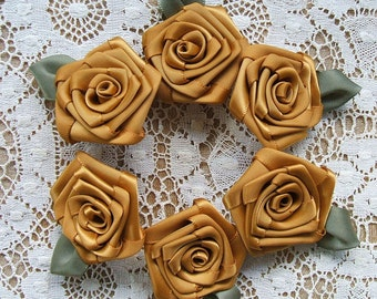 Victorian  Ribbon Roses Appliques 6- 2 inch Handmade , Antique Gold