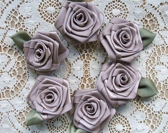 6- 2 inch Handmade Victorian  Ribbon Roses Appliques, Sable/Taupe