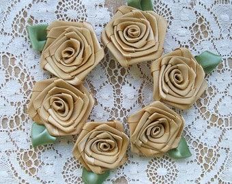 Victorian  Ribbon Roses Appliques 6- 2 inch Handmade , Golden