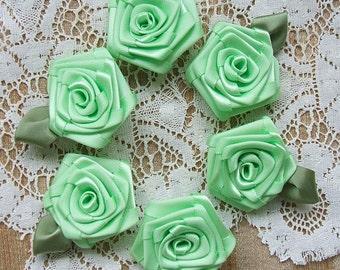 Victorian  Ribbon Roses Appliques6- 2 inch Handmade, Mint