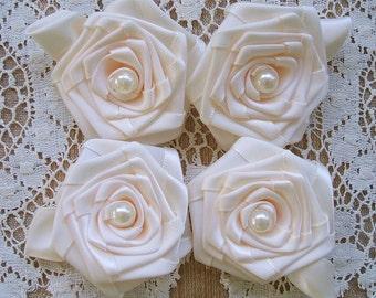 Victorian Ribbon Roses  4 - 3inch Cream  Handmade Pearls