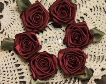 Victorian Ribbon Rose Appliques 6- 2 inch Handmade Burgundy