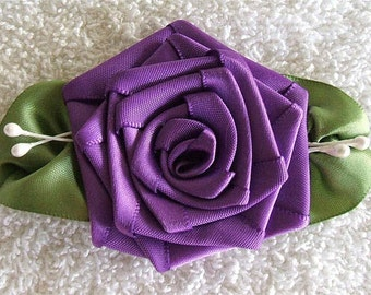 Ribbon Rose Applique 3-1/2 inch,Handmade Purple