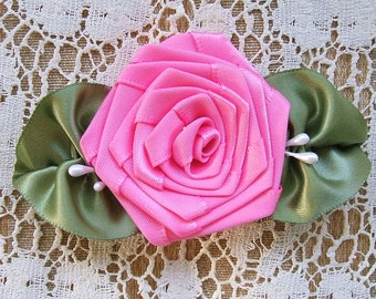 Hot Pink, Ribbon Rose, Applique, 3-1/2 inch,Handmade