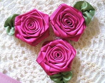3 XLG Fushia Victorian Ribbon Roses for Boutique Designers