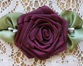 3-1/2 inch Burgundywine Rose Applique With Veined Leaves Hand Made Trims
