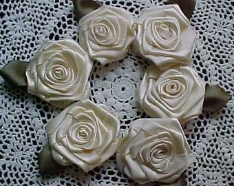 6 LG Ivory 2in. Victorian Ribbon Roses for Boutique Designers