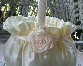 Wedding Flowergirl Basket Available in Ivory or White FAITH
