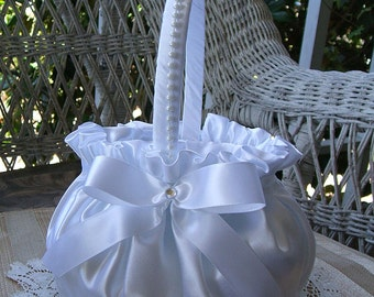 Wedding  Flower Girl Basket PROMISE Flowergirl in White or Ivory