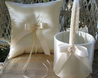 DIAMONIQUE Ivory Flowergirl Basket and Ring Pillow Set Available in White or Ivory