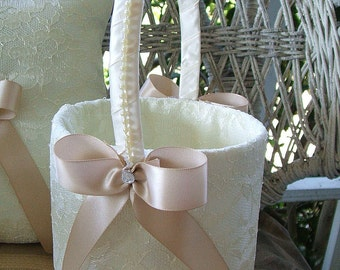 Flower Girl Basket, HANDMADE SPLENDOR, Wedding, Flowergirl, White Basket, Ivory Basket,