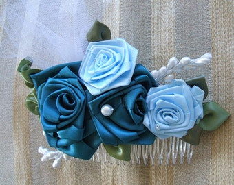 Brides/Comb/Headpiece/Handmade/Teal Blue/Ribbon Roses/Pearls/Wedding