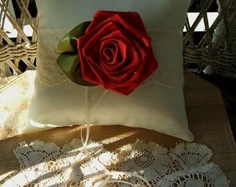 Handmade~ Wedding  Ring Pillow ROSE~ Ring Bearer, Ring Boy,Bridal Pillow,Pillow, Satin Pillow, Ribbon Rose