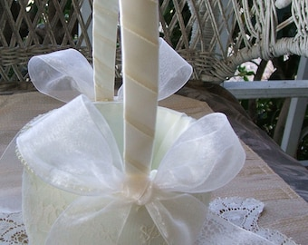 Wedding Flower Girl Basket  in White Handmade ORGANZA Flowergirl in Ivory or White