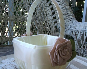 Wedding Flower Girl Basket Ivory & Champagne Handmade SATIN ROSE Flowergirl  in Ivory or White