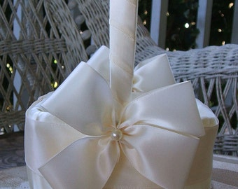 Wedding Flower Girl Basket  Square Handmade Nuance Flowergirl in White or Ivory