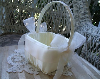 Wedding Flower Girl Basket  Square Handmade Organza  Flowergirl in White or Ivory