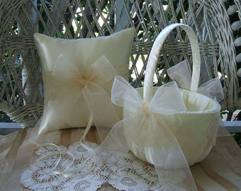 Wedding Flowergirl Basket & Pillow  Handmade ORGANZA Available in Ivory or White