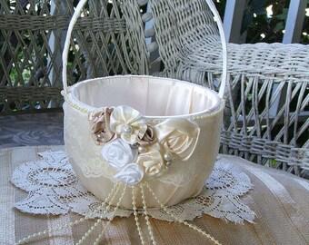 Wedding Flower Girl Basket  in Ivory Handmade CHARMED Flowergirl in White or Ivory