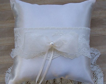 Wedding  Ring Bearer Pillow OPAL Available in Ivory or white