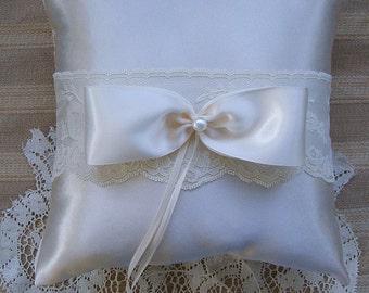 Wedding  Ring Bearer Pillow VALERIE Available in Ivory or white