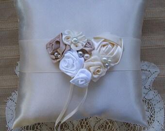 Wedding  Ring Bearer Pillow LAUREN Available in Ivory or white