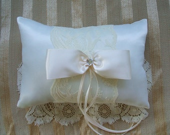 """Wedding  Ring Bearer Pillow """"EXTRAVAGANZA""""""""Available in Ivory or white"""