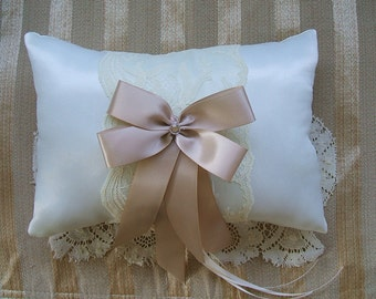 "Wedding  Ring Bearer Pillow ""Rapture""Available in Ivory or white"