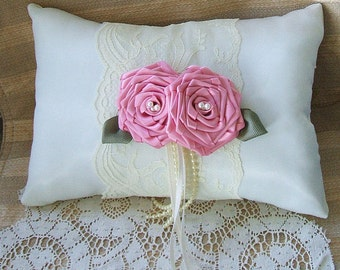 Wedding  Ring Bearer Pillow EMBRACE Available in Ivory or white