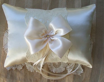 "Wedding  Ring Bearer Pillow ""NUANCE""""Available in Ivory or white"