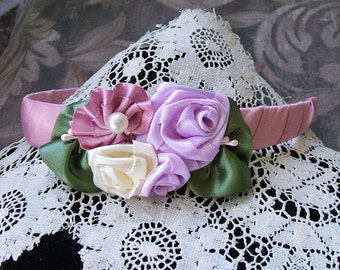 Headband Handmade Ribbon Roses in Lavender, Mauve, Cream  Flowergirl or Boutique