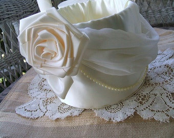 Bridal Flower Girl Basket CHIFFON & ROSES Handmade Flowergirl White or Ivory