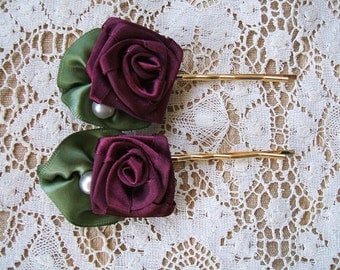 2 BIG Ribbon Rose Hair Pins Handmade Burgundywine Pearl