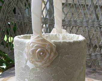 Flower Girl Basket Handmade ENCHANTMENT Flowergirl in White or Ivory