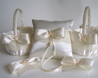 5 PC Wedding Package-Flower Girl-Baskets-Bows-Ring Pillow HANDMADE Valerie Flowergirl  in Ivory or White