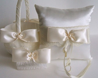 Wedding Flowergirl Basket-Bow Comb & Pillow  Handmade VALERIE Available in Ivory or White