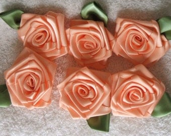 6 LG PEACH 2in. Victorian Ribbon Roses for Boutique Designers