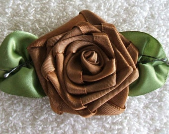 3-1\/2 inch Cocoa Rose Applique With Veined Leaves Hand Made Trims