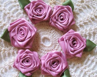 Victorian Ribbon Rose Appliques Handmade 6 LG Dusty Rose