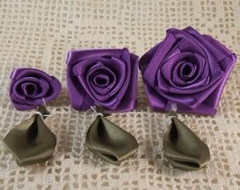3 Graduating S,M,L Ribbon Rose Appliques for Boutiques,Desingers  Purple