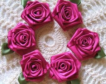 Victorian Ribbon Roses 6 LG Fushia Handmade