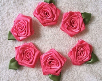 6 LG Hot Pink Handmade Victorian Ribbon Roses for Boutique Designers