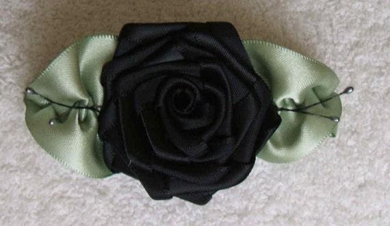 Victorian Ribbon Rose Applique Handmade Black
