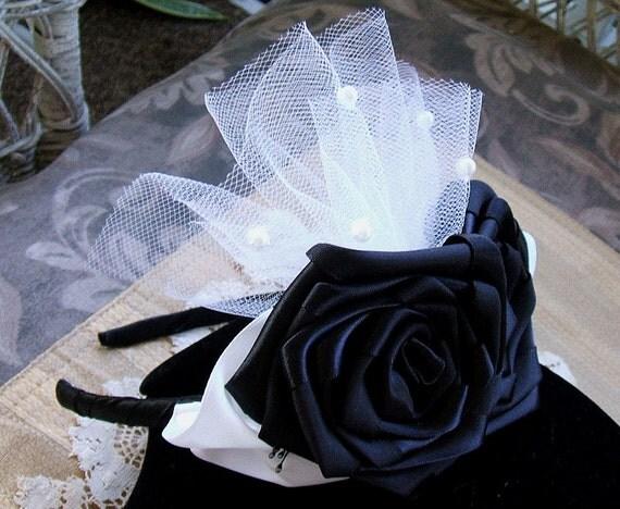 Hair Band/Headband Victorian Ribbon Rose Elegant Black Rose w White Leafs & Pearl Tulle