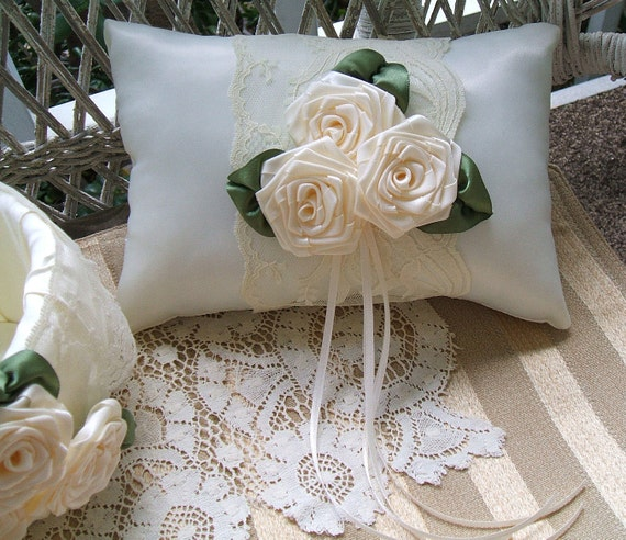 Wedding  Ring Bearer Pillow AMBER ROSE Available in Ivory or white