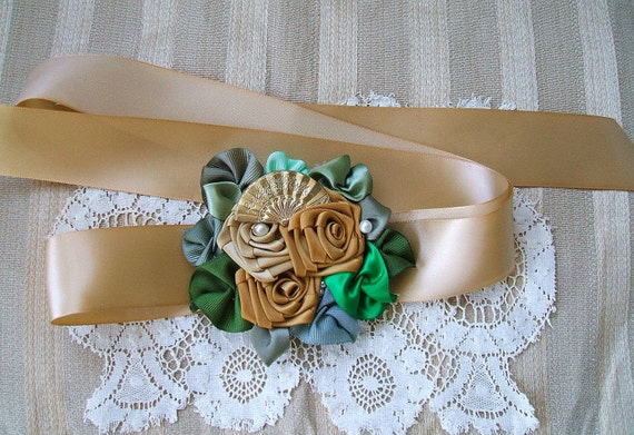 Sash for Dress Waist Handmade Victorian Ribbon Rose Cluster  3 Golden & Antique Gold