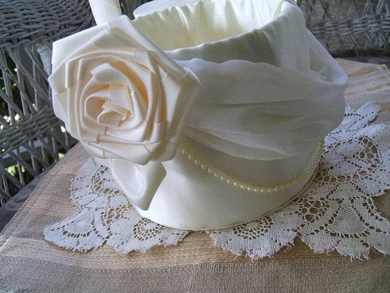 Bridal Flowergirl Basket CHIFFON & ROSES Handmade Flower Girl White or Ivory